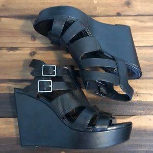 Gianni Bono Black Strappy Platform Wedge Heel